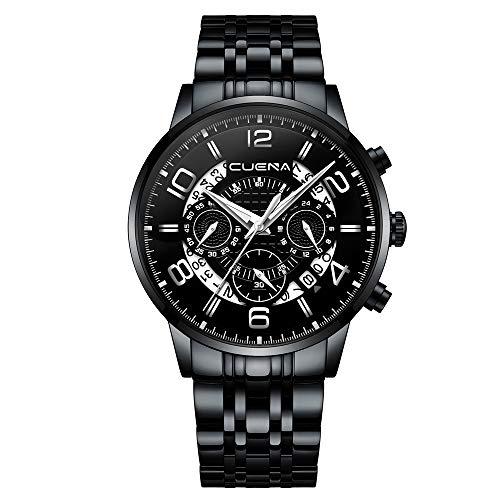 Classic Business Quartz Watch Chronograph Black Steel Band Wristwatch 30M Water Resistant