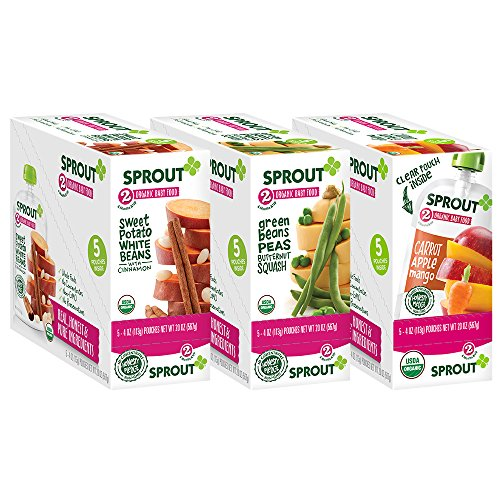 Sprout Organic Baby Food Pouches, Stage 2 Sprout Baby Food 15 Count, Veggie Variety Pack (5 pouches Sweet Potato White Bean, 5 pouches Carrot Apple Mango, 5 pouches Green Bean Peas Butternut Squash) (Potato Life Veggie Sweet)