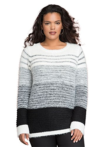 Womens-Plus-Size-Ombre-Stripe-Sweater