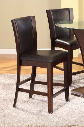 Roundhill Furniture Kecco Espresso Solid Wood Counter Height Stools, Set of 2