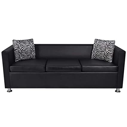 Amazon.com: Tidyard 3 Seater Artificial Leather Sofa, Living Room ...