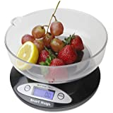 Smart Weigh CSB2KG Cuisine Digital Kitchen Scale with Removable Bowl, 2kg by 0.1g, Black