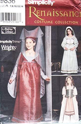 (Simplicity 9836 Sewing Pattern Girls Costume Renaissance Maiden Size 7 -)