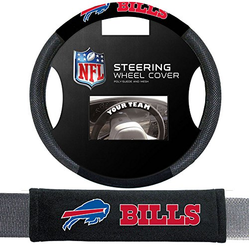 - Fremont Die Buffalo Bills NFL Steering Wheel Cover and Seatbelt Pad Auto Deluxe Kit