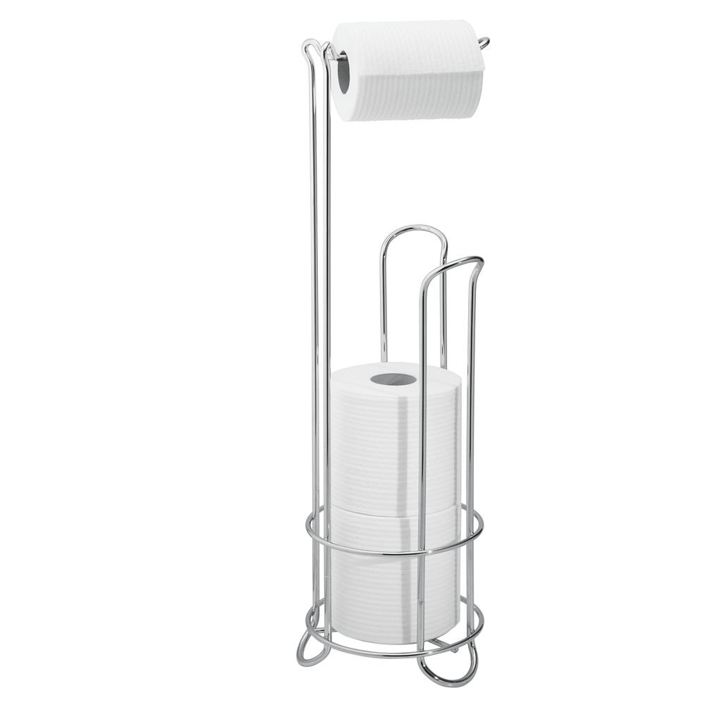 InterDesign Classico - Free Standing Toilet Paper Holder for Bathroom Storage - Brushed Stainless