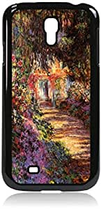 Claude Monet's Pathway in a Garden- Case for the Samsung Galaxy S4 i9500- Hard Black Plastic Snap On Case with Soft Black Rubber Lining