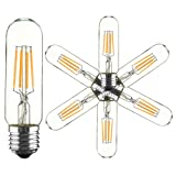 KINGSO 6 Pack E27/E26 T10 128 4W Cob Led Vintage Light Retro Edison Style Screw Technology Tubular Nostalgic Filament Not Dimmable Warm White 2300K 400LM AC 110V