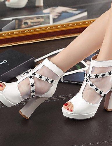 ShangYi Womens Shoes Heel Heels / Peep Toe / Platform Sandals / Heels Outdoor / Dress / Casual Black / Blue / Pink / White/517 Blue