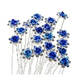 Happy Hours - 20Pcs Newest U-Shaped Rose Flower Pearl Rhinestone Crystal Hair Pins Clips Barrette for Prom Party Wedding Bridal Bridesmaid Jewelry Accessories(Dark Blue)