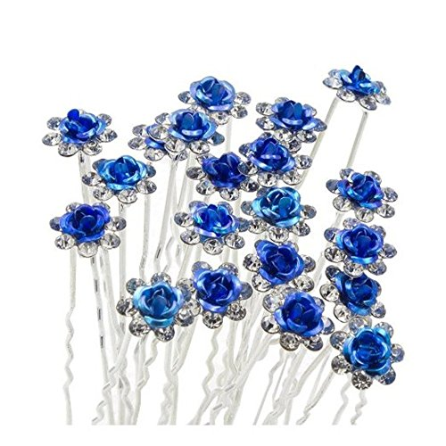 Happy Hours - 20Pcs Handmade U-Shaped Pearl Rose Flower Rhinestone Crystal Hair Pins Clips Barrette for Prom Party Wedding Bridal Bridesmaid Jewelry Accessories(Dark Blue)