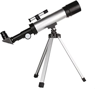 IOQSOF Telescope for Kids Nature Exploration Toys,Tripod,High-Definition Telescope Educational Toy for Kids,Light,Stable,Cool Easy to Use, Large, Black/Siliver