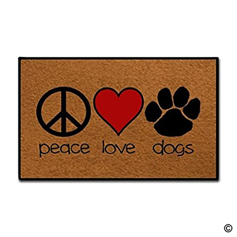 BLINY Entrance Doormat - Funny and Creative Doormat - Peace Love Dogs Door Mat for Indoor Outdoor Use Non-woven Fabric Top 18 inch by 30 - Love Door Mat