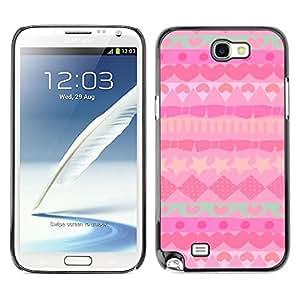 Be Good Phone Accessory // Dura Cáscara cubierta Protectora Caso Carcasa Funda de Protección para Samsung Note 2 N7100 // Pattern Polygon Teal Hearts Stars