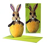 POP-UP CARD 'EASTER EGG WITH RABBIT / BUNNY ': A folded 3-D-card of a rabbit in an Easter egg - a funny Easter card for kids.