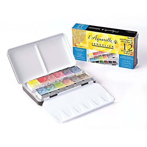 Sennelier l'Aquarelle French Artists' Watercolor Metal Pocket Case Set