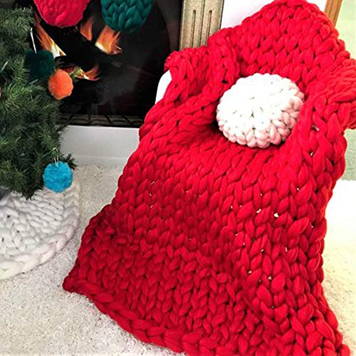 Super Chunky Knit Blanket Merino Wool Blanket Christmas Red Handmade Throw Extreme Knitting Chunky Blanket Super Bulky Yarn Throw 59x71in by Clisil (Image #1)