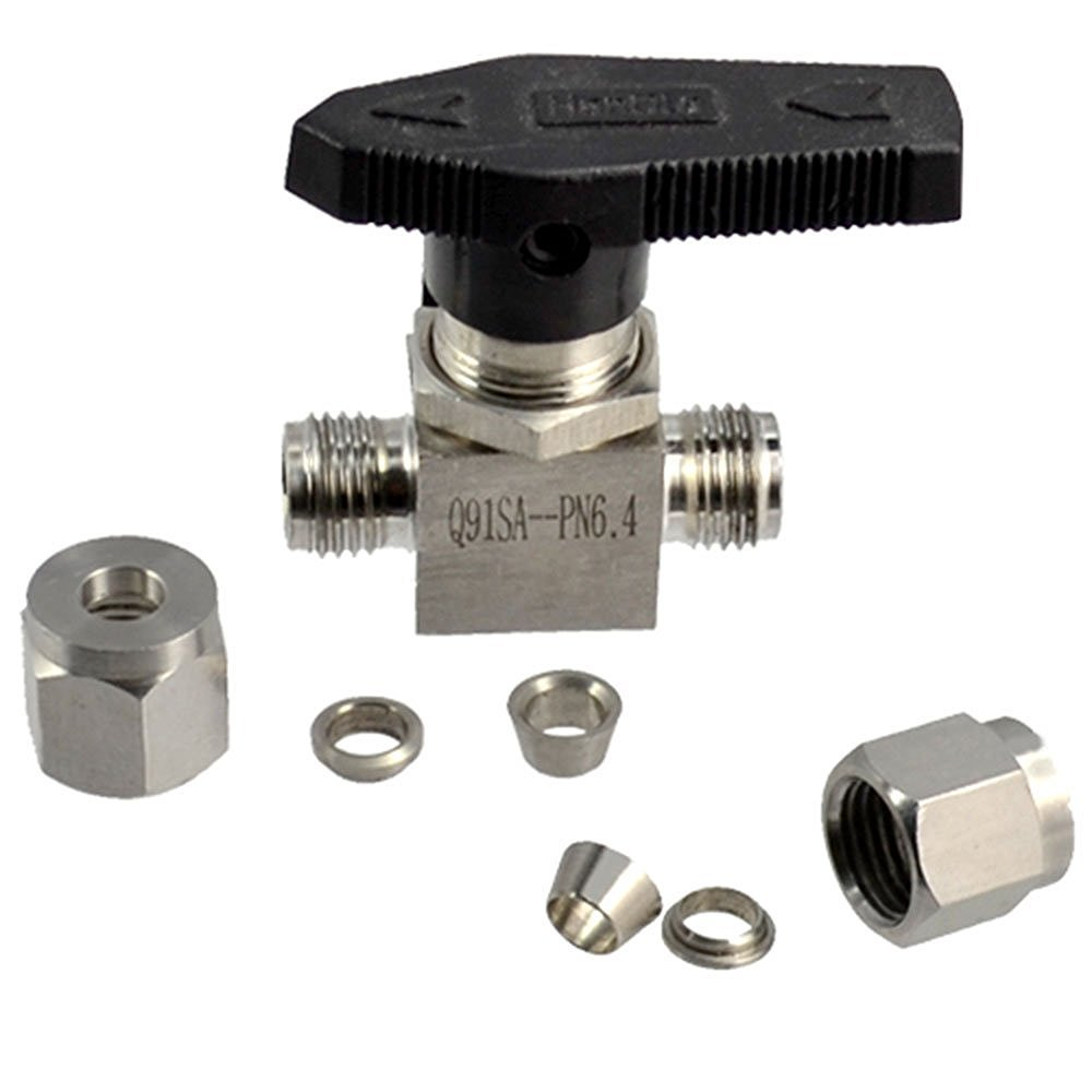 OD 3MM Straight Double Ferrule Tube BSPT Black Compression Lever Handle Ball Valve Fitting Stainless Steel 304