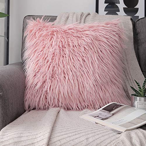 Phantoscope Decorative New Luxury Series Merino Style Pink Faux Fur Throw Pillow Case Cushion Cover 18 x 18 inches 45cm x -