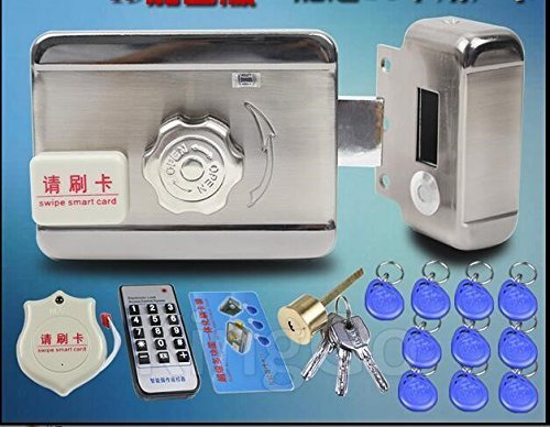 ORYKEY DC12V Door and Gate Access Control System Electronic Integrated RFID Lock with RFID Reader with 10pcs ID 125KHZ Keyfob