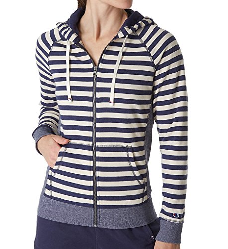 (Champion Women's Heritage French Terry Full Zip Hood, Imperial Indigo Oatmeal Heather Stripe, X-Large)