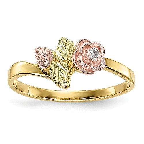 Diamond Flower Stackable Ring - 10k Tri Color Black Hills Gold Diamond Rose Band Ring Size 7.00 Flowers/leaf Fine Jewelry Gifts For Women For Her