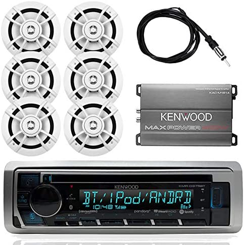 Kenwood Marine Outdoor Bluetooth Stereo CD MP3 Player USB iPhone AM FM Receiver, Kenwood 6.5 Waterproof Speakers, Optional Kenwood Compact 4-Channel Amplifier, Enrock Antenna – Marine Audio Kit