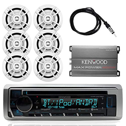Kenwood Marine Outdoor Bluetooth Stereo CD MP3 Player USB iPhone Pandora AM/FM Receiver, 6 X Kenwood 6.5