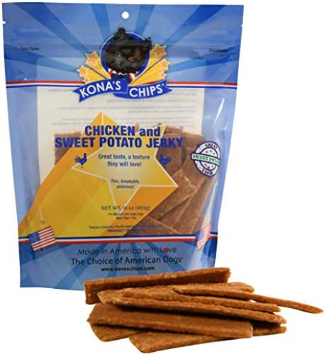 KONA'S CHIPS Chicken and Sweet Potato Jerky; Dog Treats Made in USA ONLY - 100% USDA Chicken, Grain Free. Natural, Healthy & Safe Treats for Your Dog 1 lb Bag