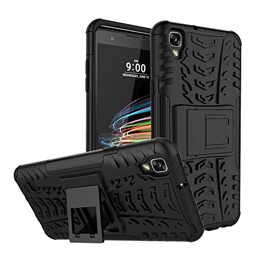LG Tribute HD Case, LG X Style Case, MCUK Heavy Duty Rugged Dual Layer - Soft/Hard Shell 2 in 1 Tough Protective Cover Case with Kickstand for LG Tribute HD / LG X Style (Black) (Jeweled Lg Tribute Case)