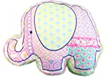 Cozy Line Home Fashions Zoo Wonder Pink Elephant Green Orchid Flower Print Pattern Decor Pillow, 100% Cotton, Gifts for Kids Girls (Elephant, Decor Pillow -1pc)