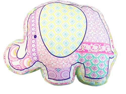 Cozy Line Home Fashions Zoo Wonder Pink Elephant Green Orchid Flower Print Pattern Decor Pillow, 100% Cotton, Gifts for Kids Girls (Elephant, Decor Pillow -1pc) by Cozy Line Home Fashions