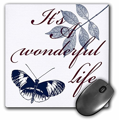 3dRose PS Inspirations - Its A Wonderful Life Blue Butterfly - MousePad (mp_79115_1)