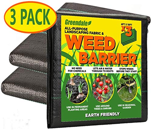 Greendale - 3 Pack of 4 Foot x 10 Foot Sheets - Landscaping Weed Barrier Fabric (120 Square Feet of Total Coverage)