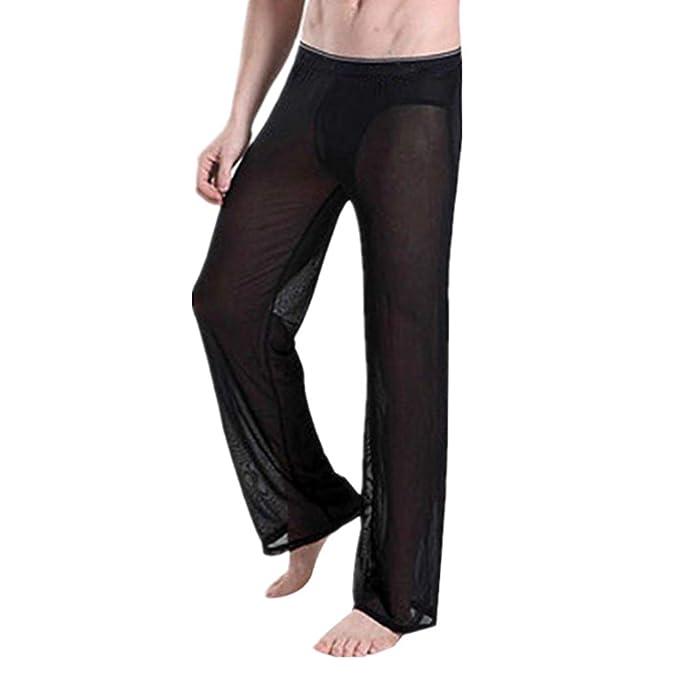 7bda8719254 iEFiEL Men's Pajamas Mesh See Through Home Lounge Pants Nightwear