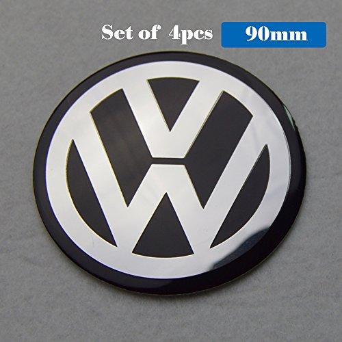 Hanway 4pcs Black vw Emblem Badge Sticker Wheel Hub Caps Centre Cover stickers for Volkswagen (90mm) Vw Hubcap