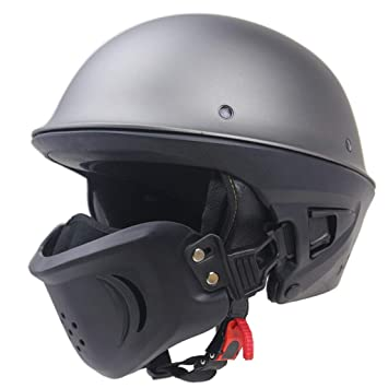 Goney Casco de la Motocicleta, Adulto Medio Casco Retro con máscara Desmontable Casco de la