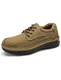 Men's Leather Oxford Casual Lace-up Loafers Non-Slip Walking Shoes Handmade Comfortable Work Shoes