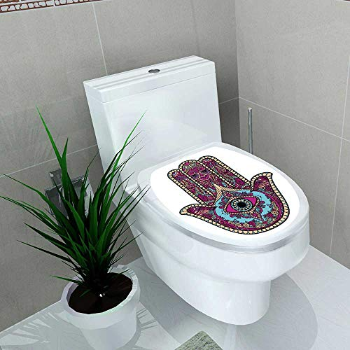 Auraise-home Decal Wall Art Decor Multicolored of a Hamsa Hand Symbol Vintage Bohemian Style in Doodle Style for Toilet Decoration W13 x L18