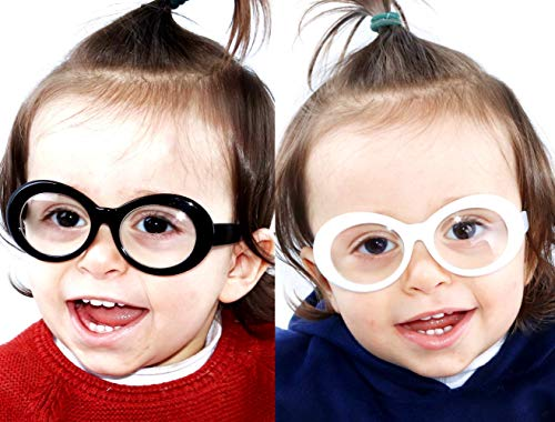 Kd215 baby Toddlers infant (0~36 months old) Oval round Costume Dorky clear Lens Glasses sunglasses (2-pack Black-clear&White-clear, Clear) -