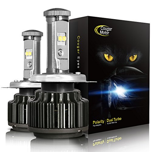 CougarMotor LED Headlight Bulbs All-in-One Conversion Kit - H4 (9003 Hi/Low) -7,200Lm 6000K Cool White CREE - 3 Year Warranty