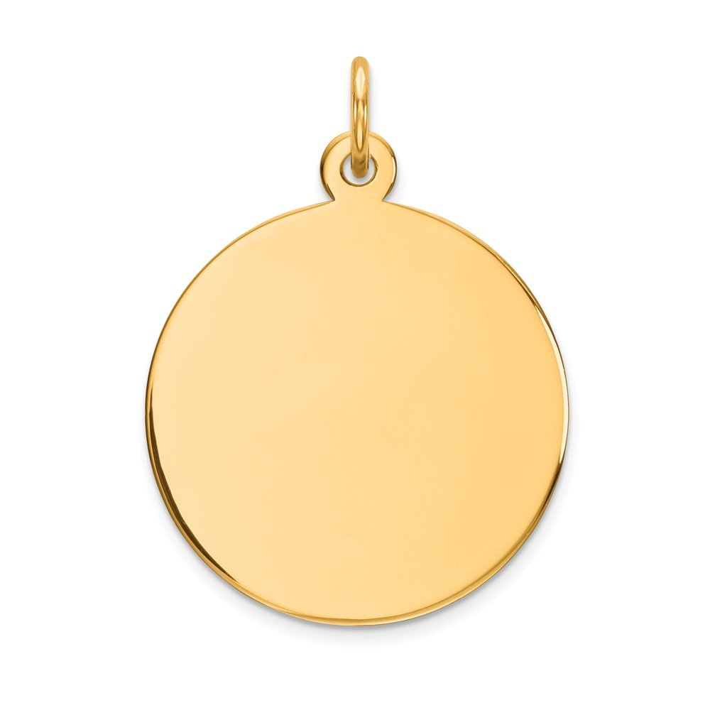 14k Yellow Gold .013 Gauge Circular Engravable Disc Pendant Charm Necklace Round Plain Fine Jewelry Gifts For Women For Her