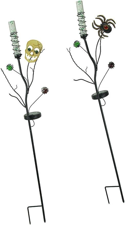 Regal Art & Gift Set de 2 estacas de jardín con luz LED de Calavera y araña, Funcionan con energía Solar: Amazon.es: Jardín