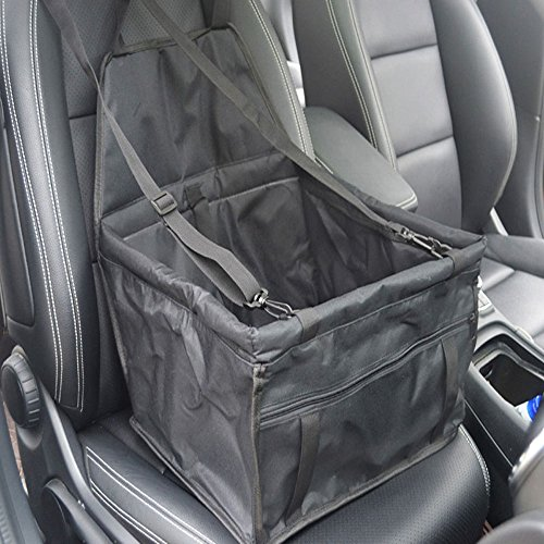 Efanr Waterproof Pet Single Car Seat Cover Portable Safety Seat Carrier Bag with Storage Pocket Safe Buckle Belts Dog Cat Car Protector Cover Mat Cushion Carpet (Black)