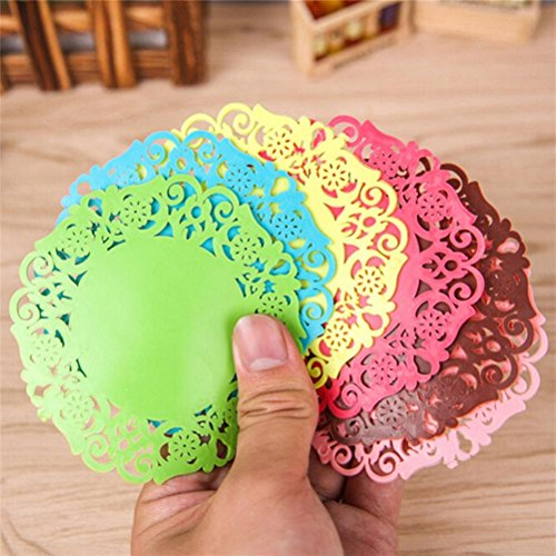 Fheaven Silicone Round Coasters, Flower Doilies Silicone Coaster Tea Cup Holder Coffee Mug Place Mats Pad Insulation Lacework Placemat Lau (A) by Fheaven (Image #4)