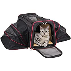 Airline Approved Pet Carrier – KiddyWoof Small Cat Carrier Tote Bag Travel Purse, Portable Soft Sided Dog Carrier Bag with Two Side Expandable for Little Animals, Kittens and Puppies