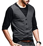 Seven Rocks Men's Waist Coat Style Cotton Black Tshirt(S-WC-BL_Black)