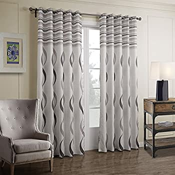 vivohome thermal insulated balackout window curtains with white gray stripes. Black Bedroom Furniture Sets. Home Design Ideas