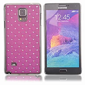Einzige Slim Fit Rhinestone Bling Hard Chrome Plated Shine Case Cover for Samsung Galaxy Note 4 (Purple) with Free Universal Screen-stylus
