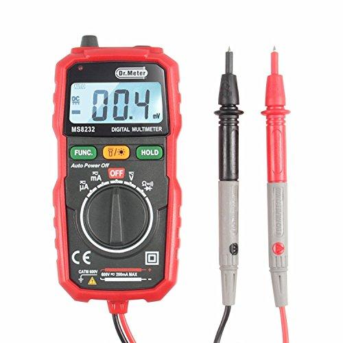 Dr.meter Mini MS8232 Auto-Ranging Backlit LCD Digital Multimeter with AC/DC Voltage, Current(AMP), Resistance, Diode Test