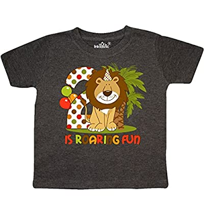 Inktastic - Cute Lion 2nd Birthday Toddler T-Shirt 3T Retro Heather Smoke
